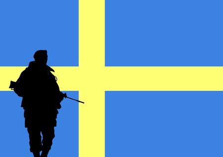Silhouette of a Swedish soldier with the flag of Sweden in the background photo