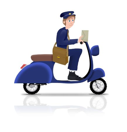 Illustrated postman riding a scooter photo