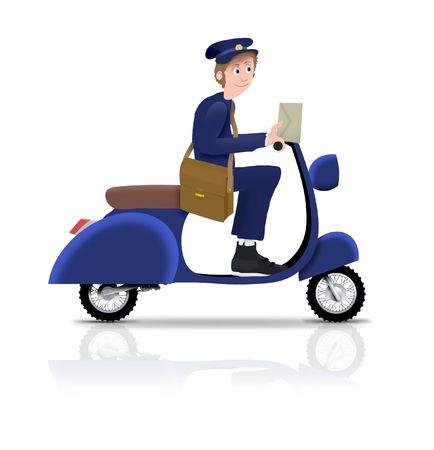 facteur: Postier illustr� un scooter de circonscription Banque d'images
