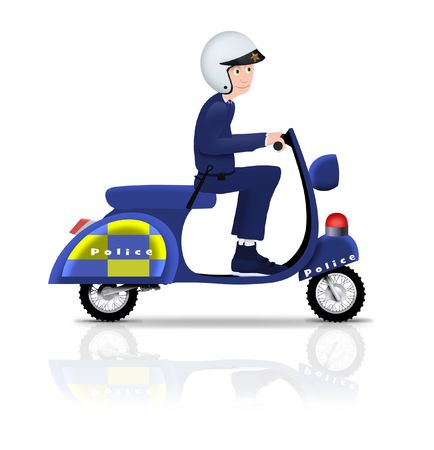 motorcycle officer: Illustrated policeman riding a scooter