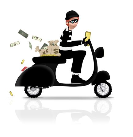 robbery: Illustrated robber riding a scooter Stock Photo