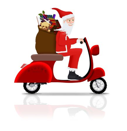 Illustrated Santa riding a scooter photo