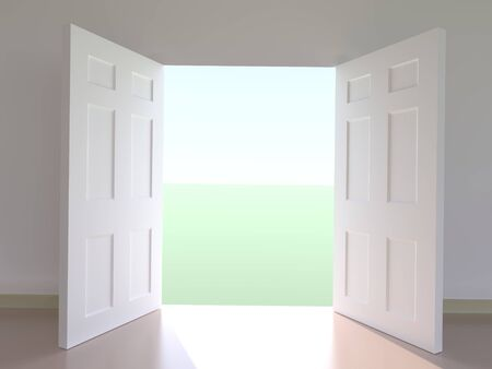 Computer generated view of outside through open doors