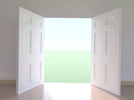 porta aperta: Vista generati dal computer di fuori attraverso porte aperte Archivio Fotografico