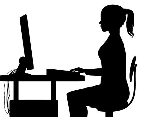 computadora caricatura: silueta de una mujer sentada en un equipo Foto de archivo