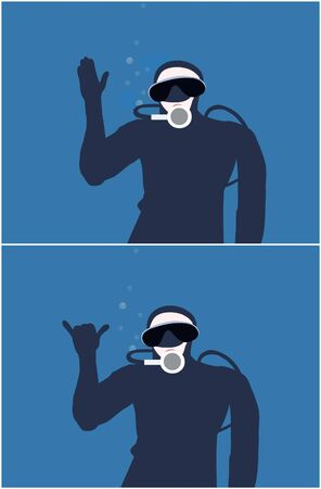 Two illustration of a diver making the signals for stop, wait and this is cool illustration