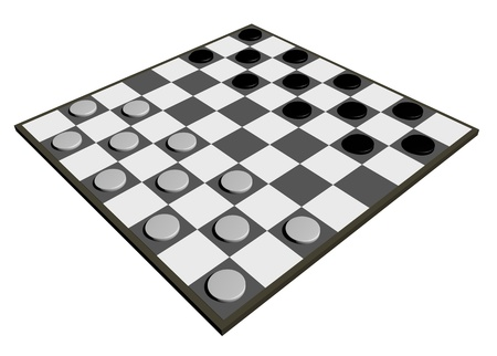 draughts: Draughts board isolated on white