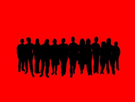 pandilleros: Ilustrado multitud de personas sobre un fondo rojo