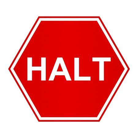 halt: Illustration of a halt sign with a slight brushed metal effect on the red area
