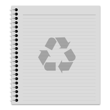 ruled paper: Illustration of a notepad with a recycle symbol on the front