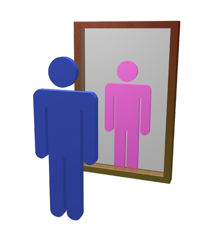 Illustration of male looking into mirror and seeing himself as a female Stock Photo