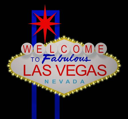 famous star: 3D render of the sign Welcome to fabulous Las Vegas Nevada