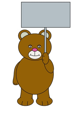 Illustration of a Teddy bear holding a blank sign illustration
