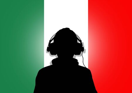 Illustration of a person wearing headphones in-front of the Italian flag Stock Illustration - 9187379