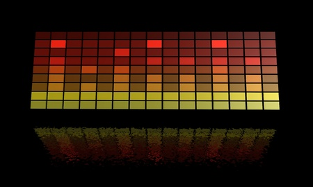 equaliser: Illustration of a graphics equaliser on a black reflective background Stock Photo