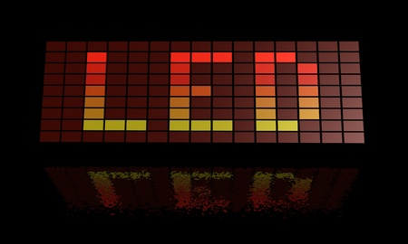 Illustration of a led display spelling out the letters L, E and D illustration
