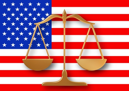 scales justice: Scales on top of a flag of the United states of America Stock Photo