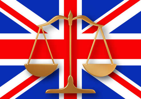 Scales on top of a flag of the United Kingdom Stock Photo - 9250286