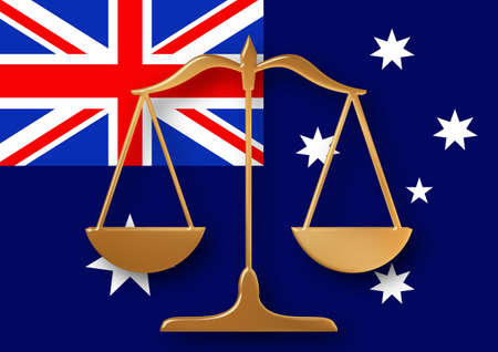 constitution: Scales on top of a flag of Australia