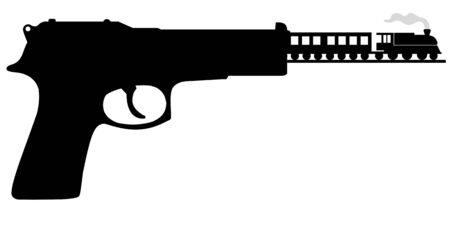 Illustration of a gun with a train travelling out from the barrel Stock Illustration - 9250291