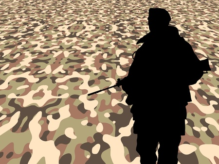 Illustration of a soldier on a perspective camouflage background Stock Illustration - 9250294