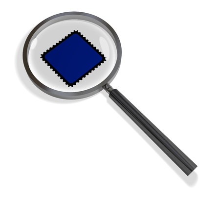 Illustration of a magnifying glass with a blue stamp in the middle