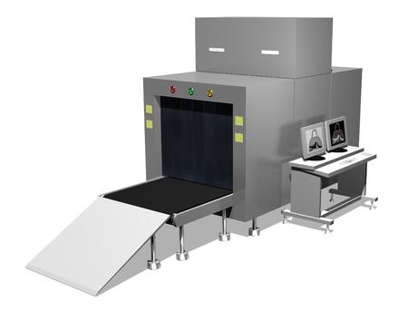 safety check: Ilustraci�n de un analizador de aeropuerto de equipaje aislados