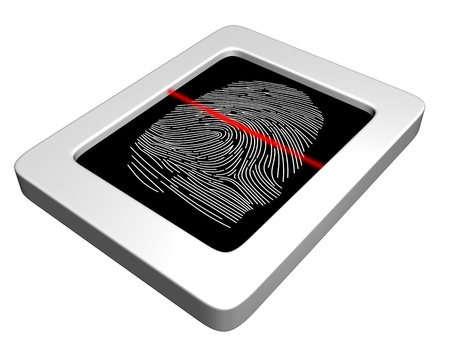forensics: Illustration of a fingerprint scanner with a red laser scanning the image