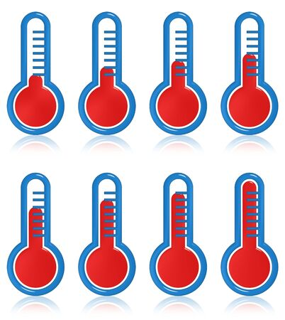 Illustration of eight temperature thermometers at different levels Stock Illustration - 9270987