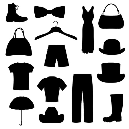 bowler hat: isolated silhouettes of different clothing and accessories