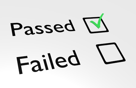 Illustration of passed and failed text with boxes and a green tick in the passed box Stock Photo