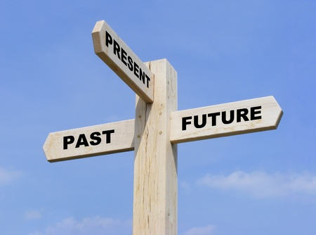 past: Isolated wooden signpost with the text past, present and future
