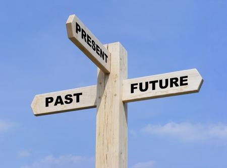 dann: Isoliert aus Holz-Schild mit dem Text Vergangenheit, Gegenwart und Zukunft