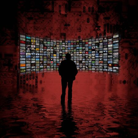 security monitoring: Illustration of a man standing in front of a wall of many photos