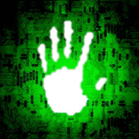 Illustration of a white hand print over an abstract technology background illustration