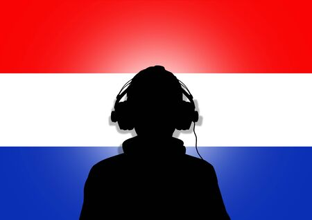 Illustration of a person wearing headphones in-front of the flag of The Netherlands illustration