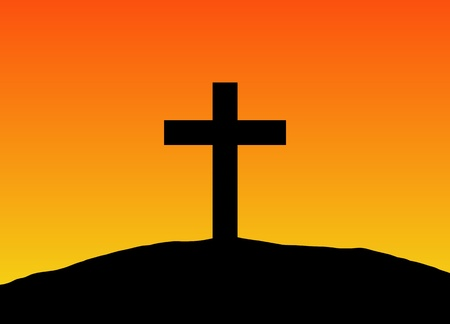 crucifixion: Illustration of a silhouette cross on a hill with a gradient orange background