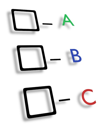 opinions: Illustrated check boxes with letters in different colours