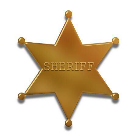 Illustration of a golden sheriff badge isolated on a white background illustration