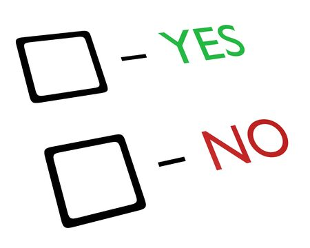 tickbox: Tick boxes with yes and no text written in green and red Stock Photo