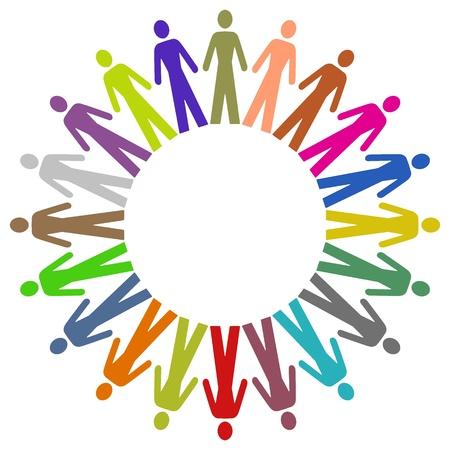 grupos de personas: Marco ilustrada de colorido pueblo