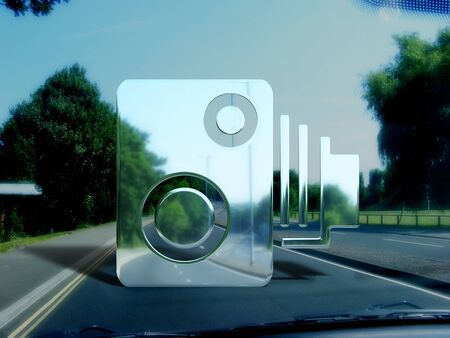 policing: View from a car window of an illustrated invisible speed camera