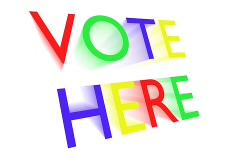 vote here: Vote here colourful text isolated on a white background Stock Photo