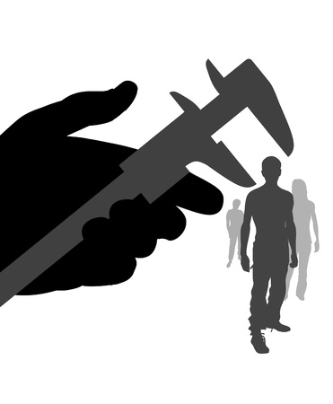 estimating: Illustration of a hand holding a measuring tool over a person head