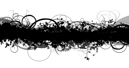 grunge border: Abstract monochrome floral border