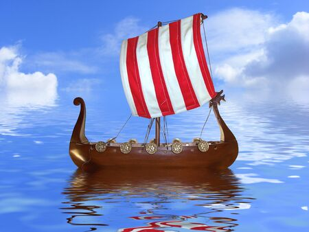 cut out Viking ship toy on a reflective water and sky background
