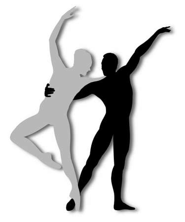 dance teacher: Illustration of a male and female dancing isolated on a white background Stock Photo