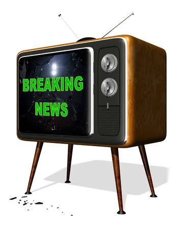 Rendered illustration of a retro television with the text breaking news over a smashed screen illustration