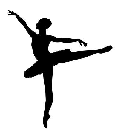 silueta bailarina: Silueta de una bailarina de ballet Foto de archivo