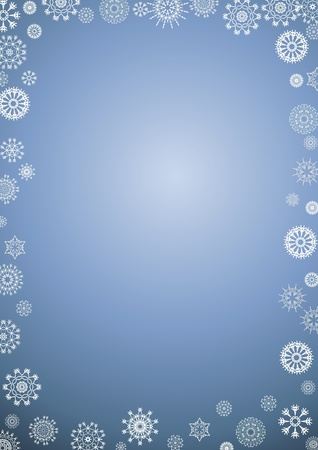 Illustration of a border of white snowflakes on a gradient blue background